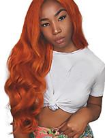 Недорогие -Синтетические кружевные передние парики Волнистый Стиль Свободная часть Лента спереди Парик Коричневый Оранжевый Искусственные волосы 18-26 дюймовый Жен. Регулируется / Жаропрочная / Для вечеринок