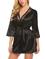 cheap -Women's Cut Out / Ruffle / Mesh Suits Nightwear Jacquard / Solid Colored Black White Blue S M L