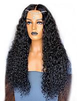 Недорогие -Парики из искусственных волос Афро Квинки Стиль Стрижка каскад Без шапочки-основы Парик Черный Черный Искусственные волосы 60~64 дюймовый Жен. Новое поступление Черный Парик Очень длинный