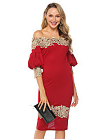 cheap -Women's Sheath Dress Knee Length Dress - 3/4 Length Sleeve Solid Color Lace Backless Patchwork Summer Off Shoulder Sexy Party Lantern Sleeve Slim 2020 Red S M L XL XXL