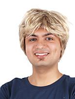 Недорогие -Парики из искусственных волос Кудрявый Стиль Ассиметричная стрижка Без шапочки-основы Парик Блондинка Светло-золотой Искусственные волосы 4 дюймовый Муж. Для вечеринок Блондинка Парик Короткие