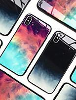 Недорогие -Кейс для Назначение Apple iPhone XS / iPhone XR / iPhone XS Max Зеркальная поверхность Кейс на заднюю панель Цвет неба / Градиент цвета Твердый Закаленное стекло