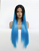 Недорогие -Синтетические кружевные передние парики Прямой Стиль Средняя часть Лента спереди Парик Синий Черный / сапфировый синий Искусственные волосы 8-26 дюймовый Жен. синтетический Синий Парик Средняя длина