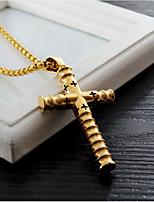 Недорогие -Муж. Ожерелья с подвесками Классический Крест Мода Титановая сталь Золотой Черный Серебряный 60 cm Ожерелье Бижутерия 1шт Назначение Повседневные Офис