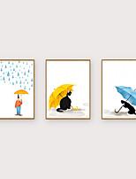 Недорогие -Отпечаток в раме Набор в раме - Люди Мультипликация Полистирен Иллюстрации Предметы искусства