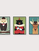 Недорогие -Отпечаток в раме Набор в раме - Животные Мультипликация Полистирен Иллюстрации Предметы искусства