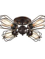 Недорогие -потолочные светильники круглые винтажные промышленные 4-проводные потолочные светильники с проволочной сеткой Люстры полу-скрытого типа прихожая темно-коричневая проволочная клетка потолочные