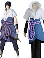 cheap -Inspired by Naruto Uchiha Sasuke Anime Cosplay Costumes Japanese Cosplay Suits Table Skirt Top Pants For Men's Women's / Waist Belt / Wrist Brace