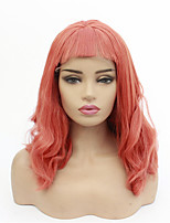 Недорогие -Синтетические кружевные передние парики Волнистый Стиль Аккуратная челка Лента спереди Парик Розовый Розовый + Красный Искусственные волосы 8-26 дюймовый Жен. синтетический Розовый Парик Короткие