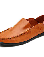 cheap -Men's Nappa Leather Spring & Summer / Fall & Winter Casual / British Loafers & Slip-Ons Walking Shoes Black / Brown / Wine