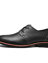cheap -Men's Nappa Leather Fall / Spring & Summer Business / Casual Oxfords Non-slipping Black / Light Brown / Dark Brown / Wedding
