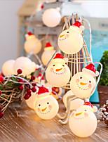 Недорогие -1 м творческий милый снеговик гирлянда 10 светодиодов теплое белое рождество декоративные 5 в 1 комплект