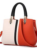 cheap -Women's Faux Leather / PU Top Handle Bag Color Block Black / Blushing Pink / Orange