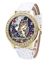 Недорогие -Нарядные часы Кожа Аналоговый Черный Белый Коричневый / Нержавеющая сталь