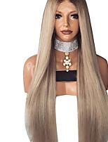 Недорогие -Парики из искусственных волос Естественный прямой Стиль Стрижка каскад Без шапочки-основы Парик Темно-серый Льняной Искусственные волосы 68~72 дюймовый Жен. Новое поступление Темно-серый Парик