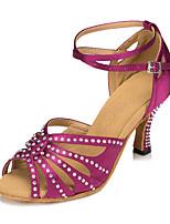 """Недорогие -Жен. Танцевальная обувь Сатин Обувь для латины Стразы На каблуках Каблук """"Клеш"""" Персонализируемая Темно-лиловый: / Выступление"""