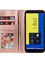 cheap -Case For Samsung Galaxy J6 / J6 (2018) / J6 Plus Wallet / Card Holder / with Stand Full Body Cases Flower Hard PU Leather