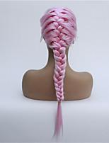 Недорогие -Синтетические кружевные передние парики Прямой Стиль Свободная часть Лента спереди Парик Розовый Розовый Искусственные волосы 8-26 дюймовый Жен. синтетический Розовый Парик Короткие 130
