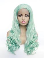 Недорогие -Синтетические кружевные передние парики Естественные волны Стиль Свободная часть Лента спереди Парик Зеленый Мятно-зелёный Искусственные волосы 8-26 дюймовый Жен. синтетический Зеленый Парик