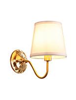 Недорогие -антикварный настенный светильник ткань круглый оттенок прихожая коридор настенные бра латунный корпус лампы в помещении декор свет спальня ночь свет для чтения настенное крепление золото