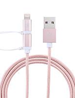 Недорогие -df 2in1 mfi кабель молнии micro usb / кабель молнии 1 м (3 фута) плетеный кабель для зарядки из искусственной кожи Кабель для передачи данных кабель для быстрой зарядки для iphone / ipad / ipod