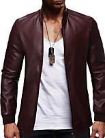 Недорогие -Муж. Повседневные Классический Наступила зима Обычная Кожаные куртки, Однотонный Черный и красный Воротник-стойка Длинный рукав Полиуретановая Пэчворк Черный / Винный / Хаки US32 / UK32 / EU40 / US34