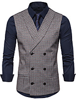 cheap -James Bond Gentleman Vintage Double Breasted Waistcoat Men's Slim Fit Cotton Costume Black / Red / Black & White / Coffee Vintage Cosplay Party Halloween / Vest