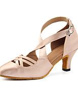 Недорогие -Жен. Сатин Обувь для латины Планка На каблуках Кубинский каблук Персонализируемая Телесный