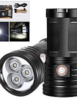 Недорогие -XM3 Светодиодные фонари 2400 lm Светодиодная лампа LED 3 излучатели Руководство 3 Режим освещения с USB кабелем Водонепроницаемый Для профессионалов Анти-шоковая защита