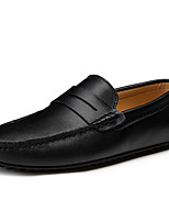 cheap -Men's PU Fall / Spring & Summer Casual / British Loafers & Slip-Ons Walking Shoes Breathable Black / Brown / White