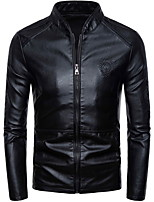 Недорогие -Муж. Повседневные Классический Большие размеры Обычная Кожаные куртки, Однотонный Воротник-стойка Длинный рукав Полиуретановая Черный / Винный