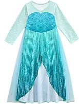 Недорогие -Дети Дети (1-4 лет) Девочки Активный Уличный стиль Пэчворк Длинный рукав Макси Платье Синий