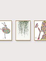 Недорогие -Отпечаток в раме Набор в раме - Абстракция ботанический Полистирен Иллюстрации Предметы искусства