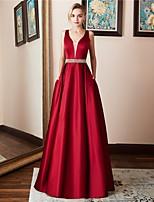 Недорогие -А-силуэт V-образный вырез В пол Сатин Выпускной Платье с Кристаллы от LAN TING Express