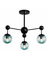 Недорогие -Спутник полу скрытого монтажа фары окружающего света окрашенные отделки металлический потолочный светильник 3 лампы люстра глобус стеклянный плафон простой подвесной светильник черный