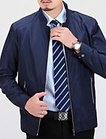 Недорогие -Муж. Повседневные Обычная Куртка, Однотонный Воротник-стойка Длинный рукав Полиэстер Синий / Винный / Хаки / Тонкие