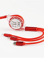 Недорогие -Micro USB / Подсветка / Type-C Кабель 1.0m (3FT) Выдвижной / От 1 до 3 / Высокая скорость TPE Адаптер USB-кабеля Назначение Macbook / iPad / Samsung