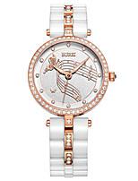 Недорогие -Жен. Нарядные часы Кварцевый Керамика 30 m Светящийся Повседневные часы Аналоговый Роскошь Элегантный стиль - Белый Один год Срок службы батареи