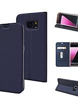Недорогие -Кейс для Назначение SSamsung Galaxy S9 Кошелек / Бумажник для карт / со стендом Чехол Однотонный Твердый Кожа PU / ТПУ