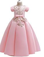 Недорогие -Дети Девочки Богемный Однотонный Пэчворк С короткими рукавами Макси Платье Бежевый