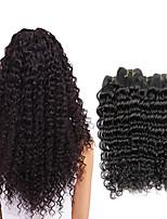 Недорогие -4 Связки Бразильские волосы Крупные кудри Не подвергавшиеся окрашиванию человеческие волосы Remy Головные уборы Человека ткет Волосы Удлинитель 8-28 дюймовый Естественный цвет Ткет человеческих волос