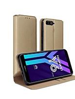 Недорогие -Кейс для Назначение Huawei Huawei Y6 (2018) Бумажник для карт / Защита от удара / Флип Чехол Однотонный Твердый Кожа PU / силикагель