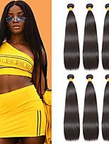 Недорогие -6 Связок Индийские волосы Прямой Необработанные натуральные волосы 100% Remy Hair Weave Bundles Человека ткет Волосы Пучок волос Накладки из натуральных волос 8-28 дюймовый Естественный цвет