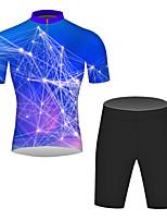 Недорогие -21Grams 3D Муж. С короткими рукавами Велокофты и велошорты - Буле / черный Велоспорт Наборы одежды Дышащий Влагоотводящие Быстровысыхающий Виды спорта 100% полиэстер Горные велосипеды Одежда