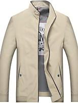 Недорогие -Муж. Повседневные Большие размеры Обычная Куртка, Однотонный Воротник-стойка Длинный рукав Полиэстер Серый / Винный / Хаки / Тонкие