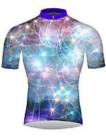 Недорогие -21Grams Галактика 3D Муж. С короткими рукавами Велокофты - Синий Велоспорт Джерси Верхняя часть Дышащий Влагоотводящие Быстровысыхающий Виды спорта 100% полиэстер / Слабоэластичная / троеборье