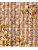 Недорогие -Горячая распродажа цветочные напечатаны теплоизоляция затемнение безопасности свет шторы окна шторы ткань для гостиной спальни