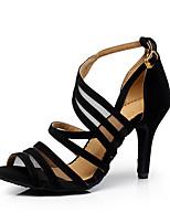 Недорогие -Жен. Танцевальная обувь Нейлон Обувь для латины Планка На каблуках Тонкий высокий каблук Персонализируемая Черный / Выступление