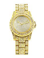 Недорогие -леди случайные наручные часы круглый циферблат кварцевые часы полный горный хрусталь часы с ремешком из алмазного сплава