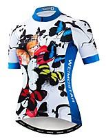 Недорогие -WEIMOSTAR Жен. С короткими рукавами Велокофты Синий Велоспорт Джерси Верхняя часть Дышащий Виды спорта Полиэстер Эластан Терилен Горные велосипеды Шоссейные велосипеды Одежда / Слабоэластичная